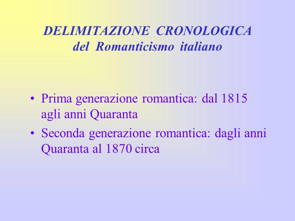 DELIMITAZIONE CRONOLOGICA del Romanticismo italiano
