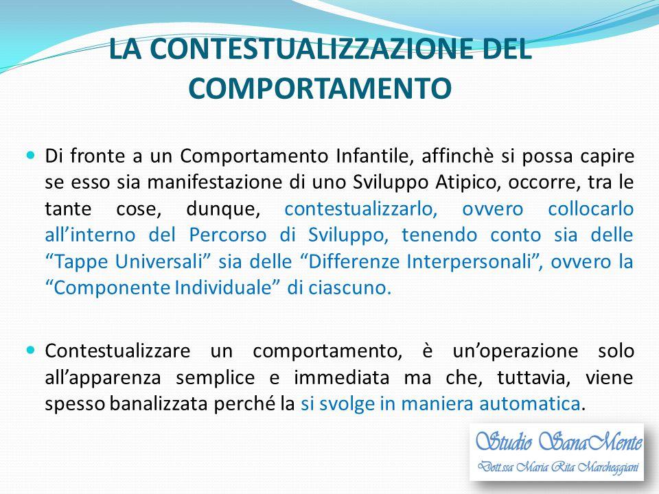 LA CONTESTUALIZZAZIONE DEL COMPORTAMENTO