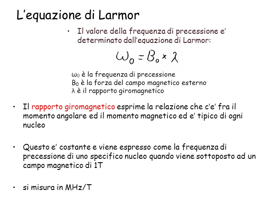 L'equazione di Larmor Il valore della frequenza di precessione e' determinato dall'equazione di Larmor: