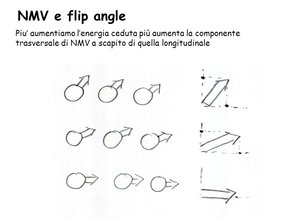 NMV e flip angle Piu' aumentiamo l'energia ceduta più aumenta la componente trasversale di NMV a scapito di quella longitudinale.