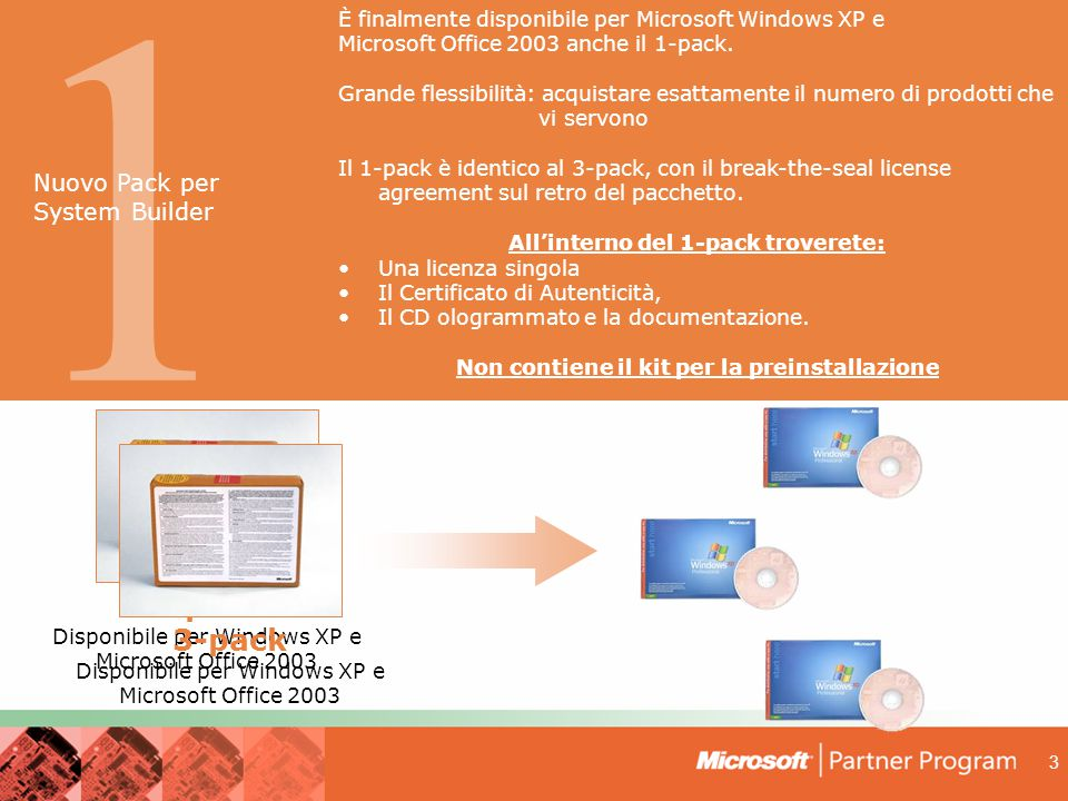 1 1-pack 3-pack Nuovo Pack per System Builder