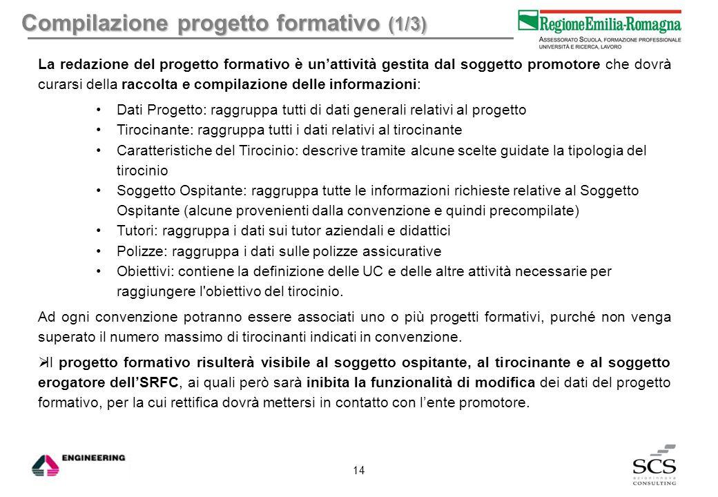 Compilazione progetto formativo (1/3)