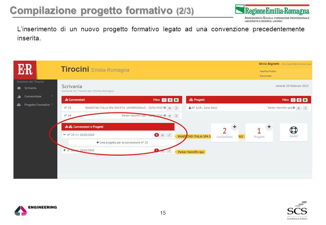 Compilazione progetto formativo (2/3)