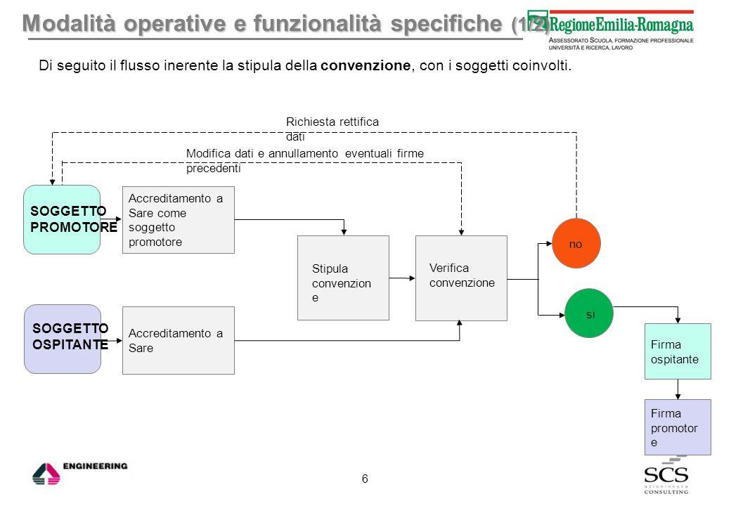 Modalità operative e funzionalità specifiche (1/2)