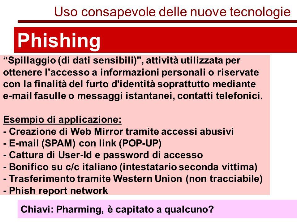 Phishing Uso consapevole delle nuove tecnologie