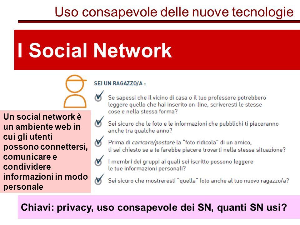 I Social Network Uso consapevole delle nuove tecnologie