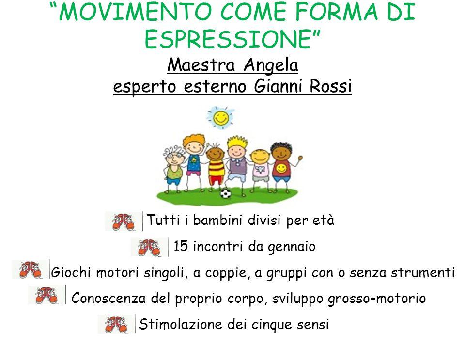 MOVIMENTO COME FORMA DI ESPRESSIONE Maestra Angela esperto esterno Gianni Rossi