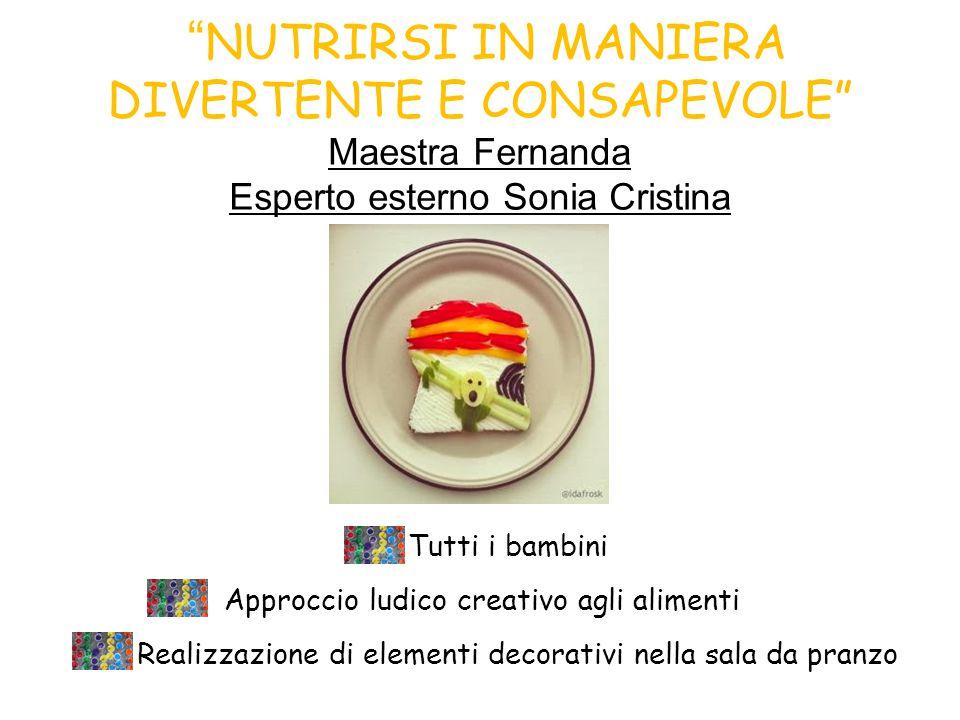 NUTRIRSI IN MANIERA DIVERTENTE E CONSAPEVOLE Maestra Fernanda Esperto esterno Sonia Cristina