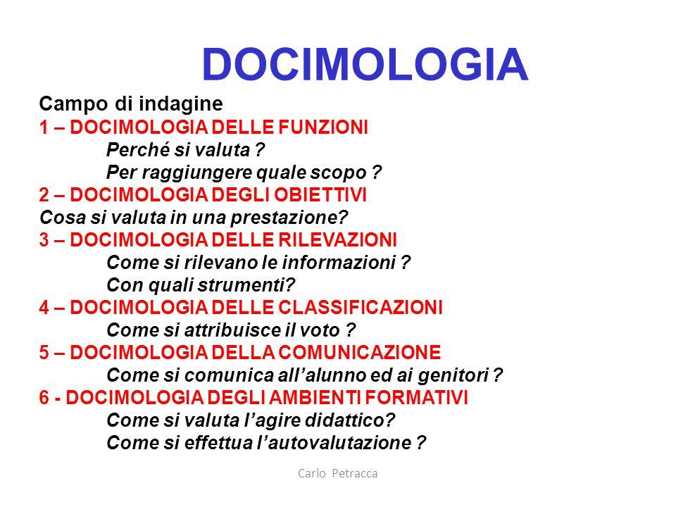 DOCIMOLOGIA Campo di indagine 1 – DOCIMOLOGIA DELLE FUNZIONI