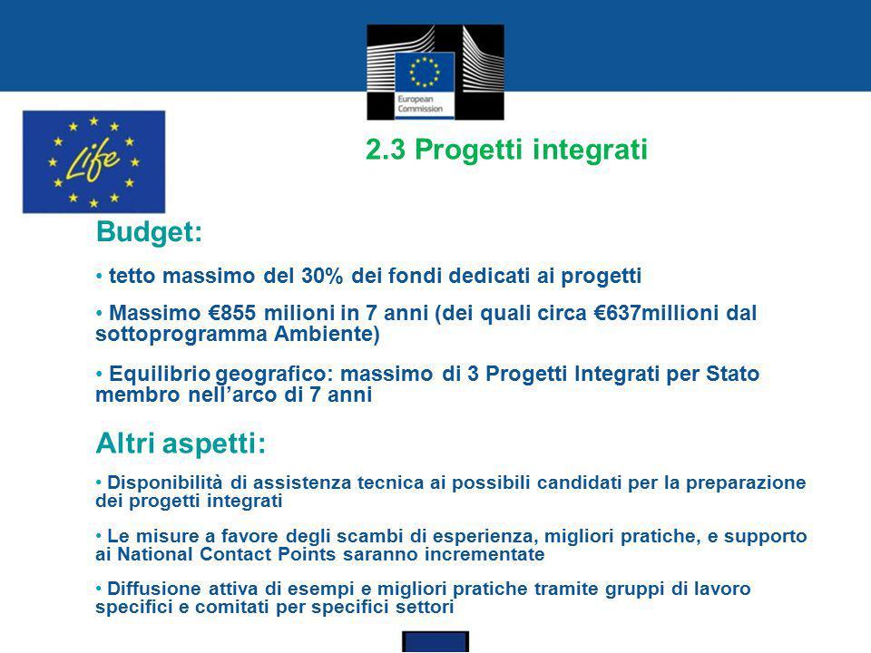 2.3 Progetti integrati Budget: Altri aspetti: