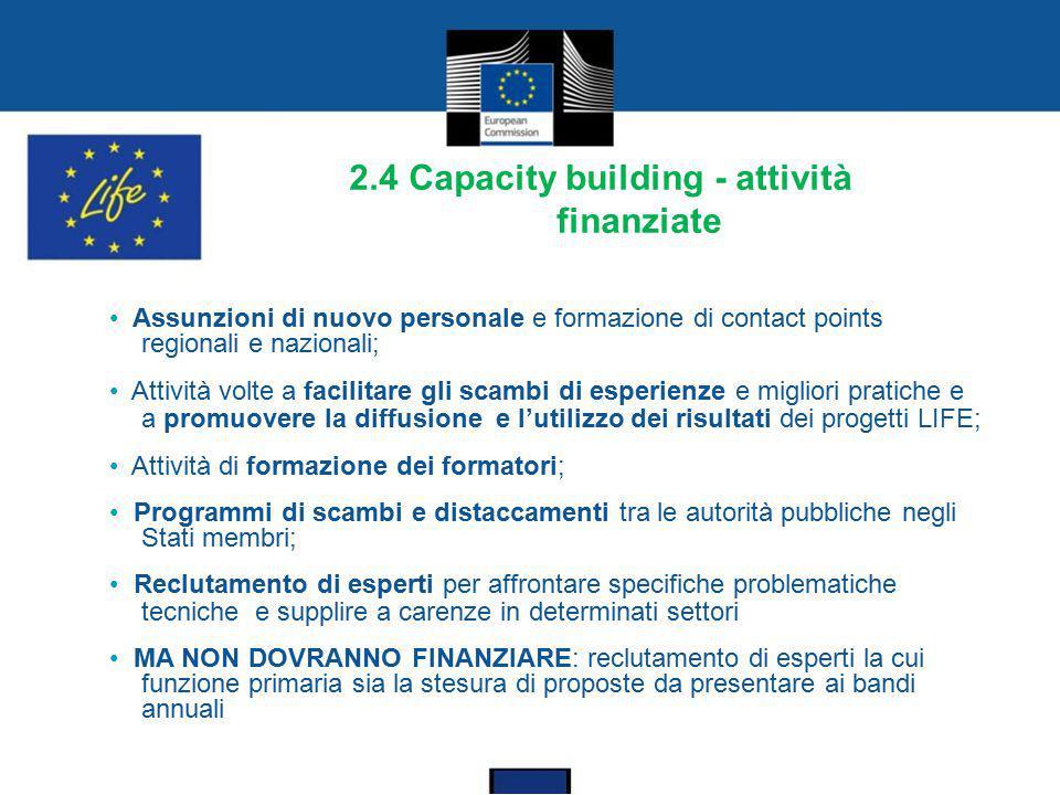 2.4 Capacity building - attività finanziate