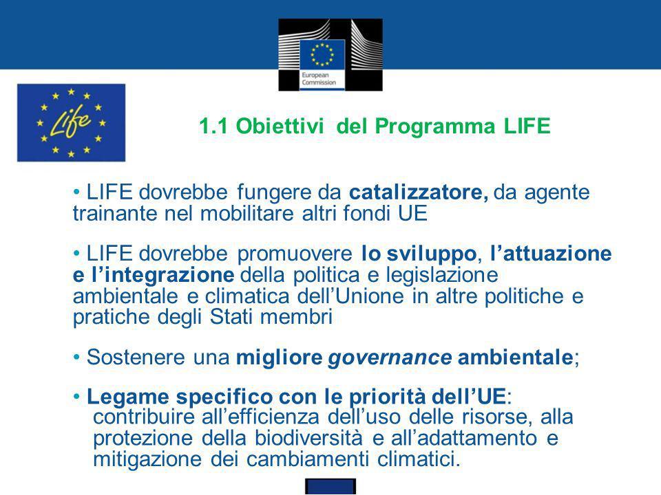 1.1 Obiettivi del Programma LIFE