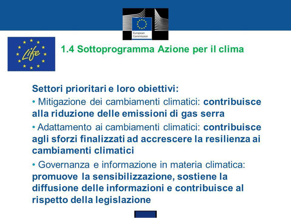 1.4 Sottoprogramma Azione per il clima