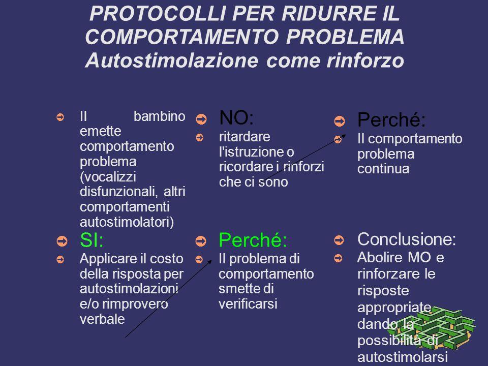 PROTOCOLLI PER RIDURRE IL COMPORTAMENTO PROBLEMA Autostimolazione come rinforzo