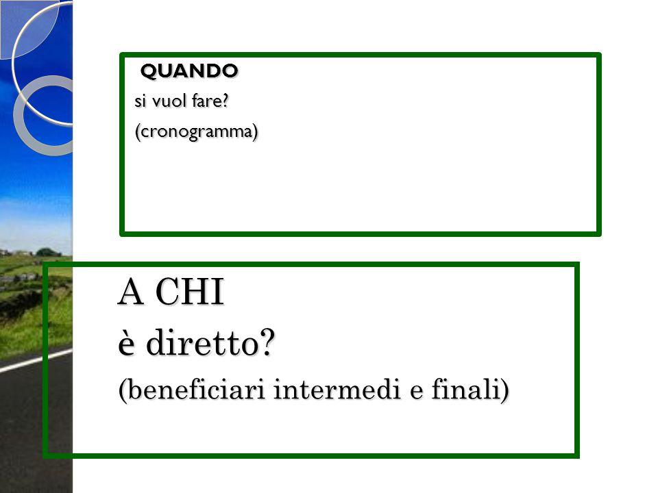 A CHI è diretto (beneficiari intermedi e finali) QUANDO si vuol fare
