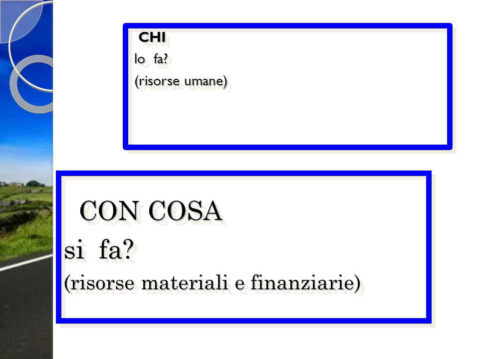CON COSA si fa (risorse materiali e finanziarie) CHI lo fa