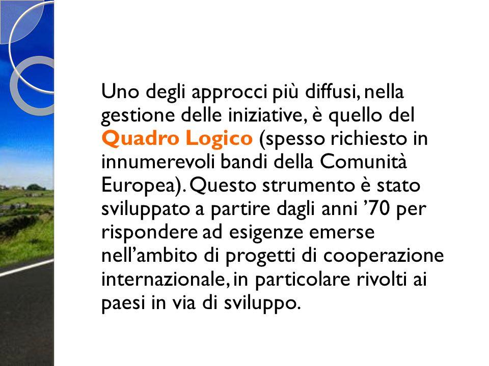 Uno degli approcci più diffusi, nella gestione delle iniziative, è quello del Quadro Logico (spesso richiesto in innumerevoli bandi della Comunità Europea).