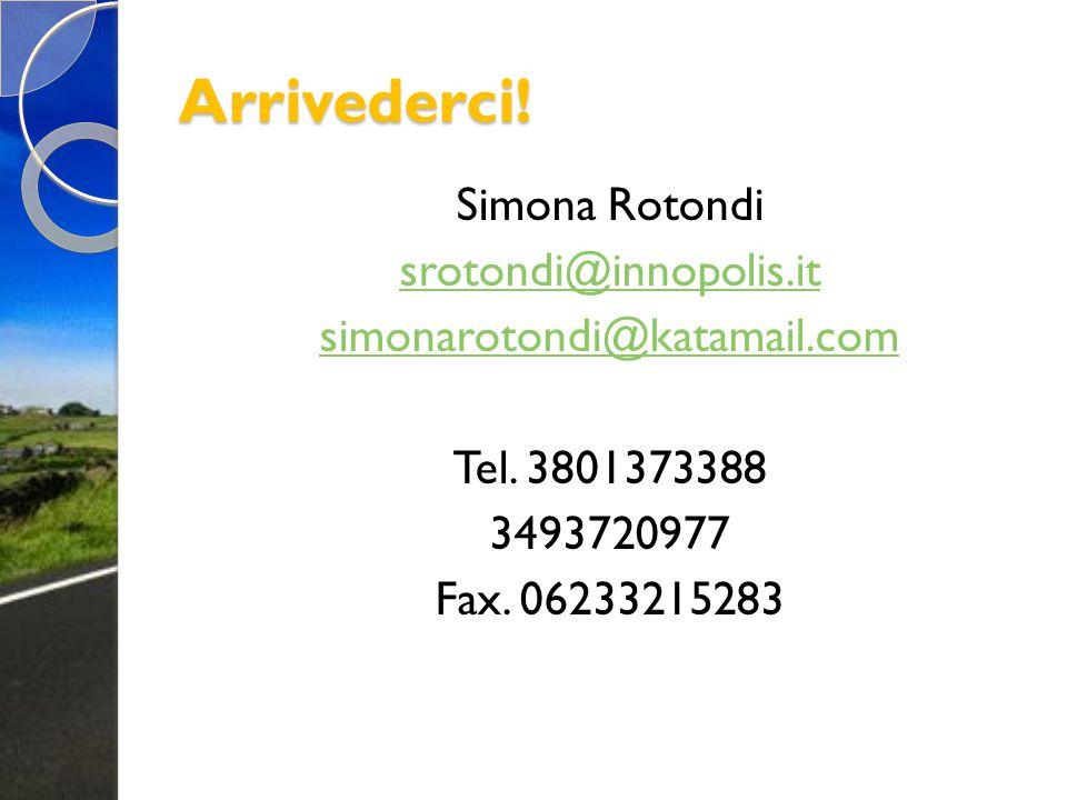 Arrivederci! Simona Rotondi srotondi@innopolis.it