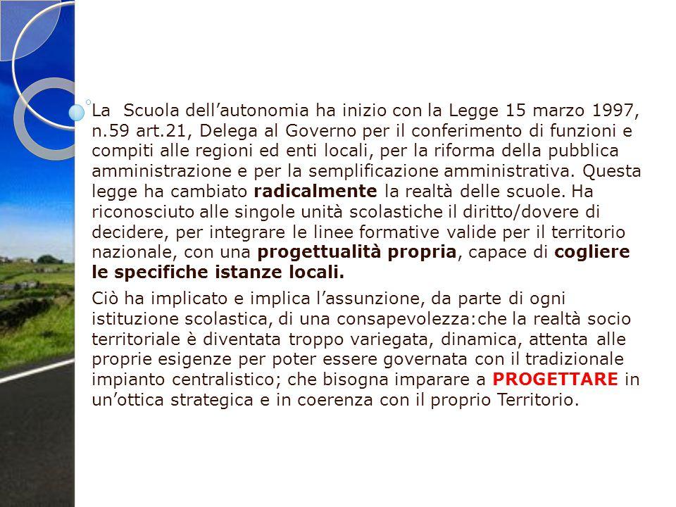 La Scuola dell'autonomia ha inizio con la Legge 15 marzo 1997, n