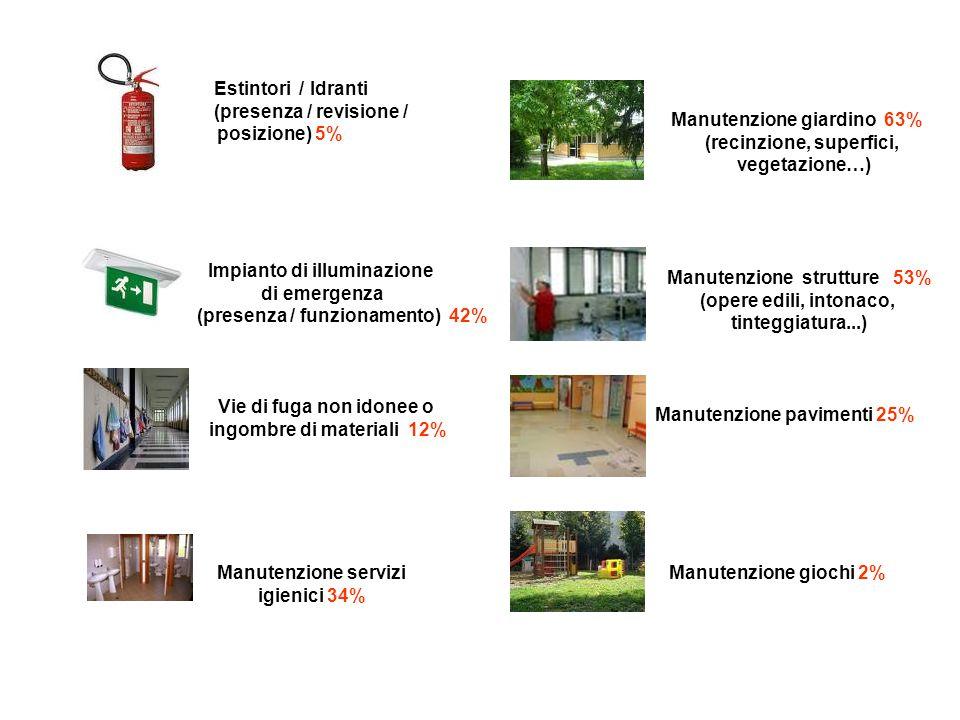 (presenza / revisione / posizione) 5% Manutenzione giardino 63%