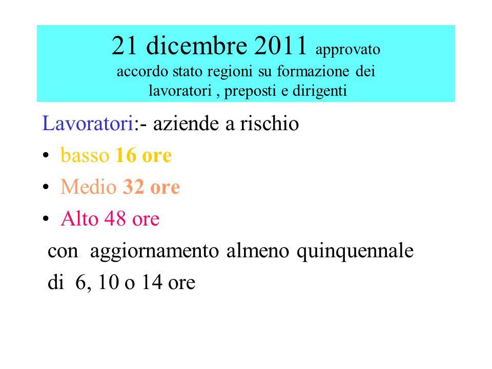 21 dicembre 2011 approvato accordo stato regioni su formazione dei lavoratori , preposti e dirigenti