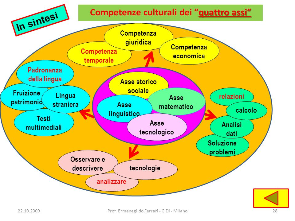 Competenze culturali dei quattro assi