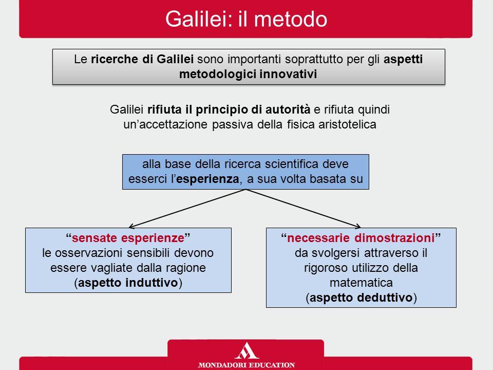Galilei: il metodo Le ricerche di Galilei sono importanti soprattutto per gli aspetti metodologici innovativi.