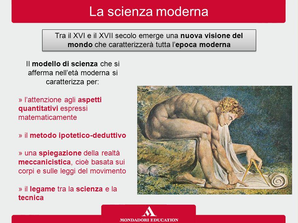 La scienza moderna Tra il XVI e il XVII secolo emerge una nuova visione del mondo che caratterizzerà tutta l'epoca moderna.