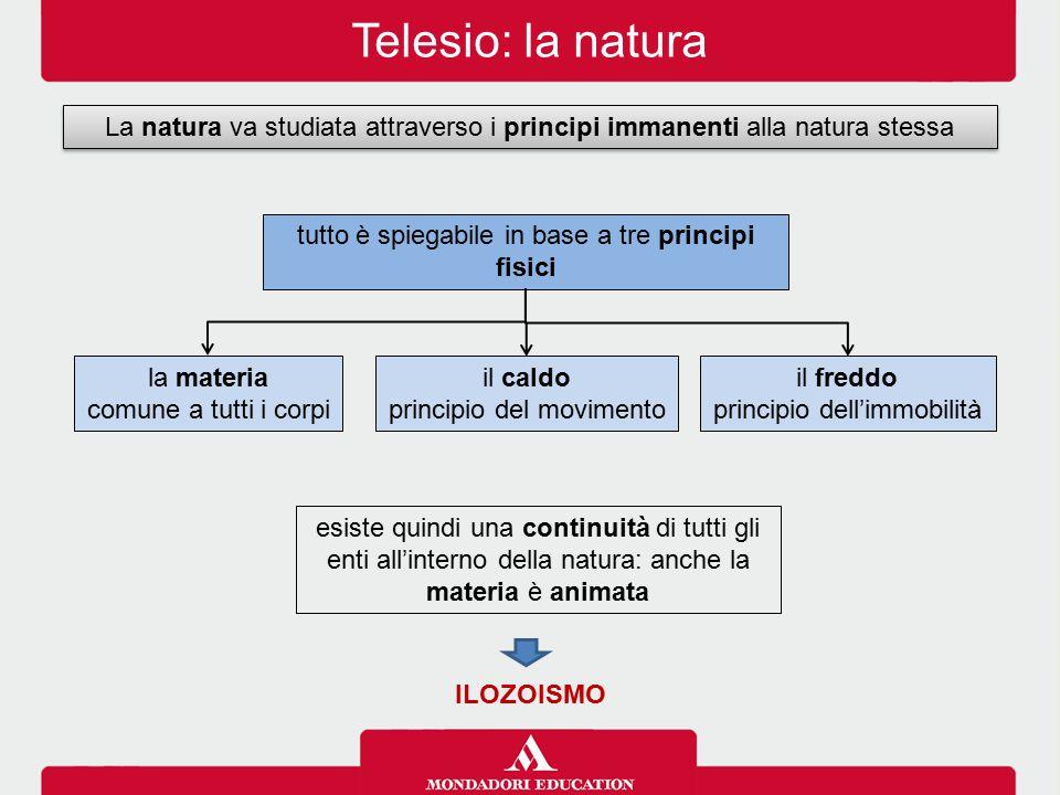 Telesio: la natura La natura va studiata attraverso i principi immanenti alla natura stessa. tutto è spiegabile in base a tre principi fisici.
