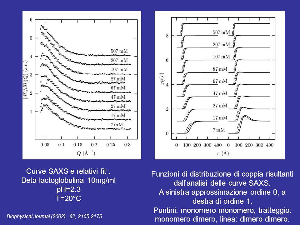 Curve SAXS e relativi fit : Beta-lactoglobulina 10mg/ml pH=2.3 T=20°C