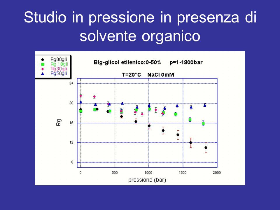 Studio in pressione in presenza di solvente organico