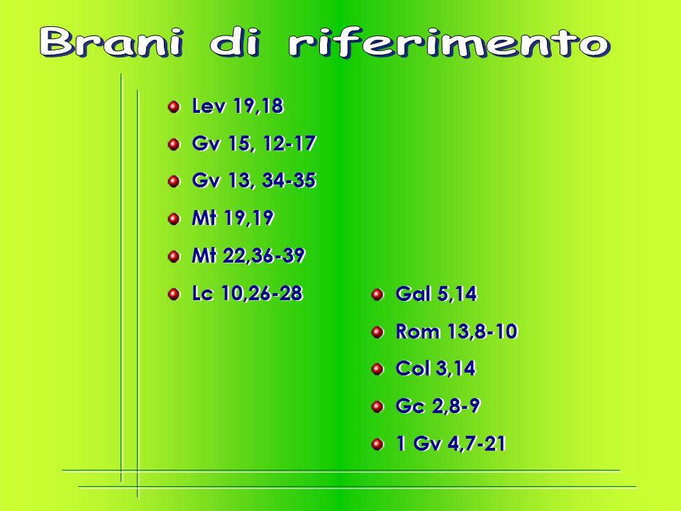Brani di riferimento Lev 19,18 Gv 15, 12-17 Gv 13, 34-35 Mt 19,19
