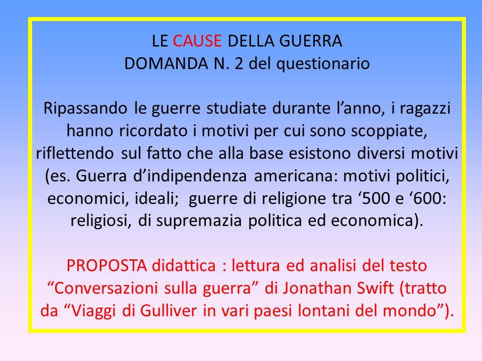LE CAUSE DELLA GUERRA DOMANDA N