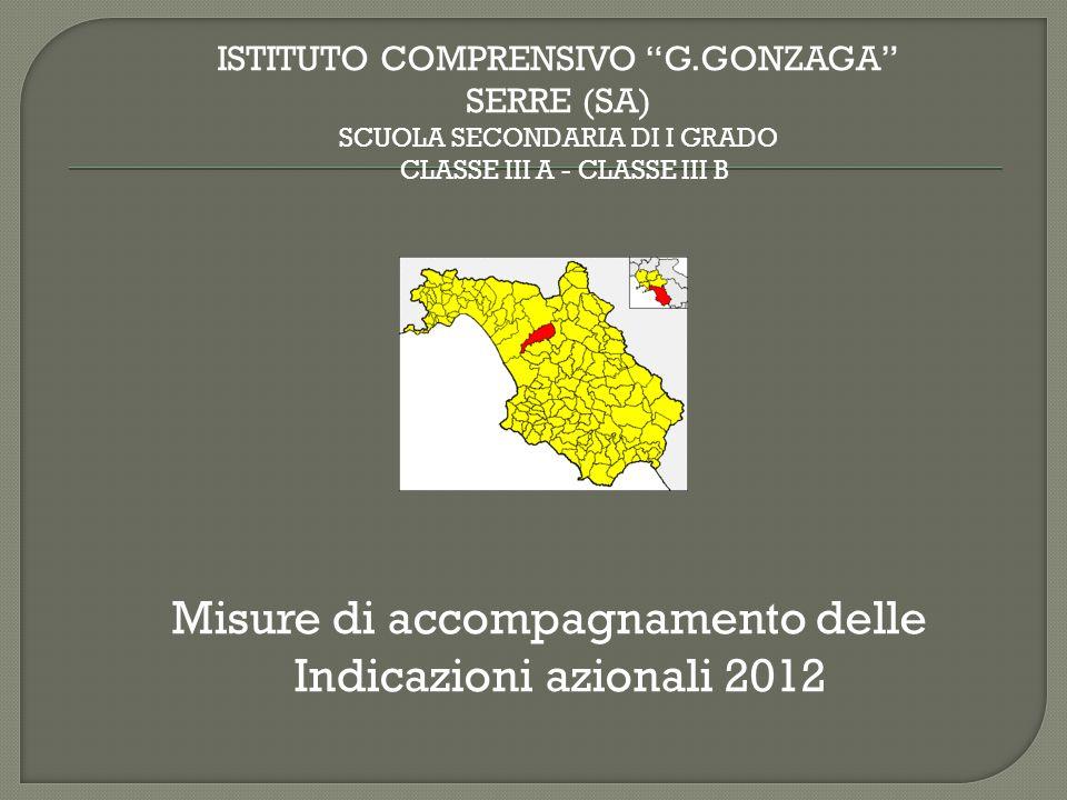 Misure di accompagnamento delle Indicazioni azionali 2012