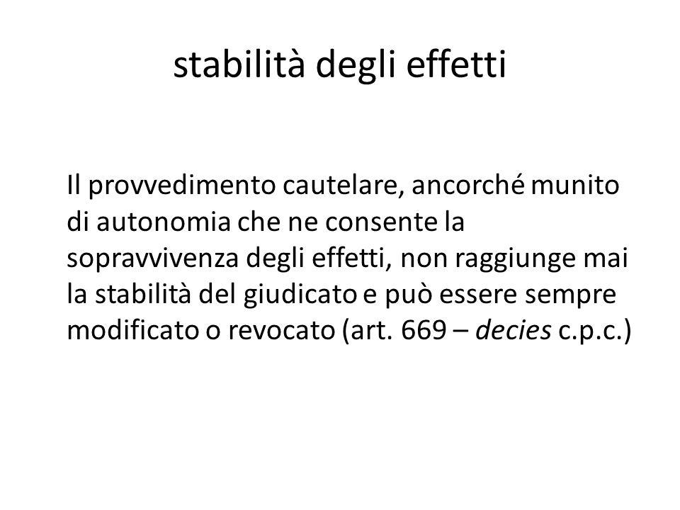 stabilità degli effetti