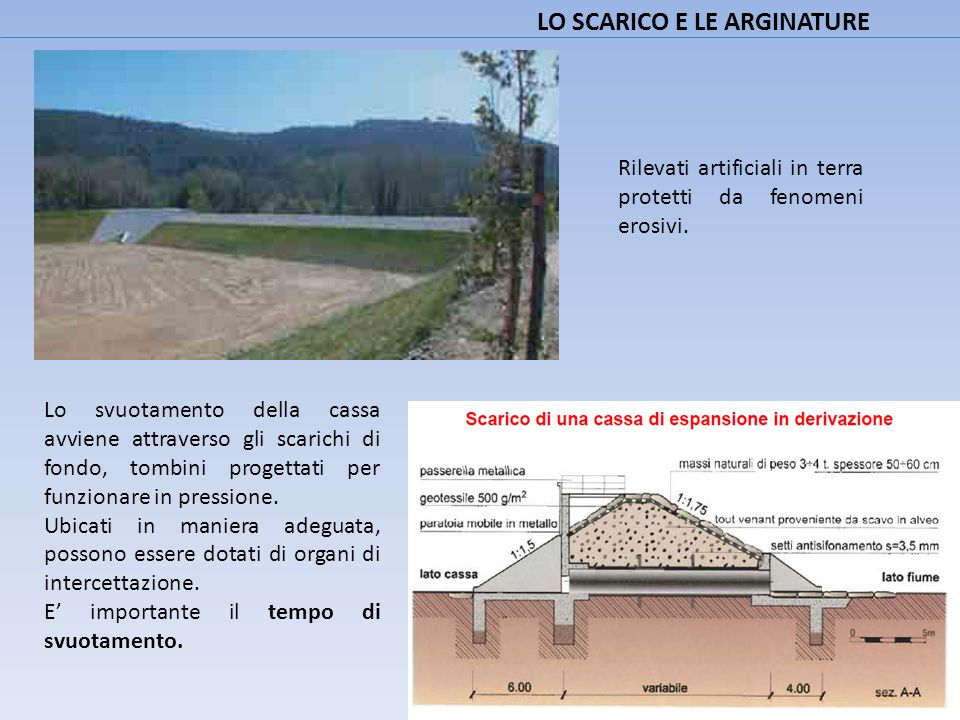 LO SCARICO E LE ARGINATURE