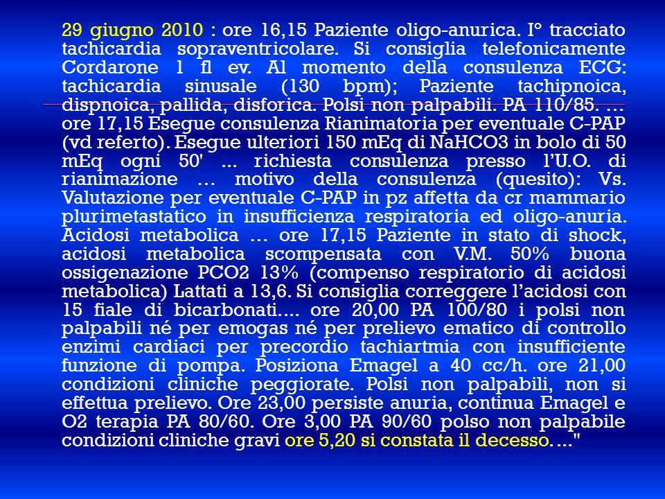 29 giugno 2010 : ore 16,15 Paziente oligo-anurica