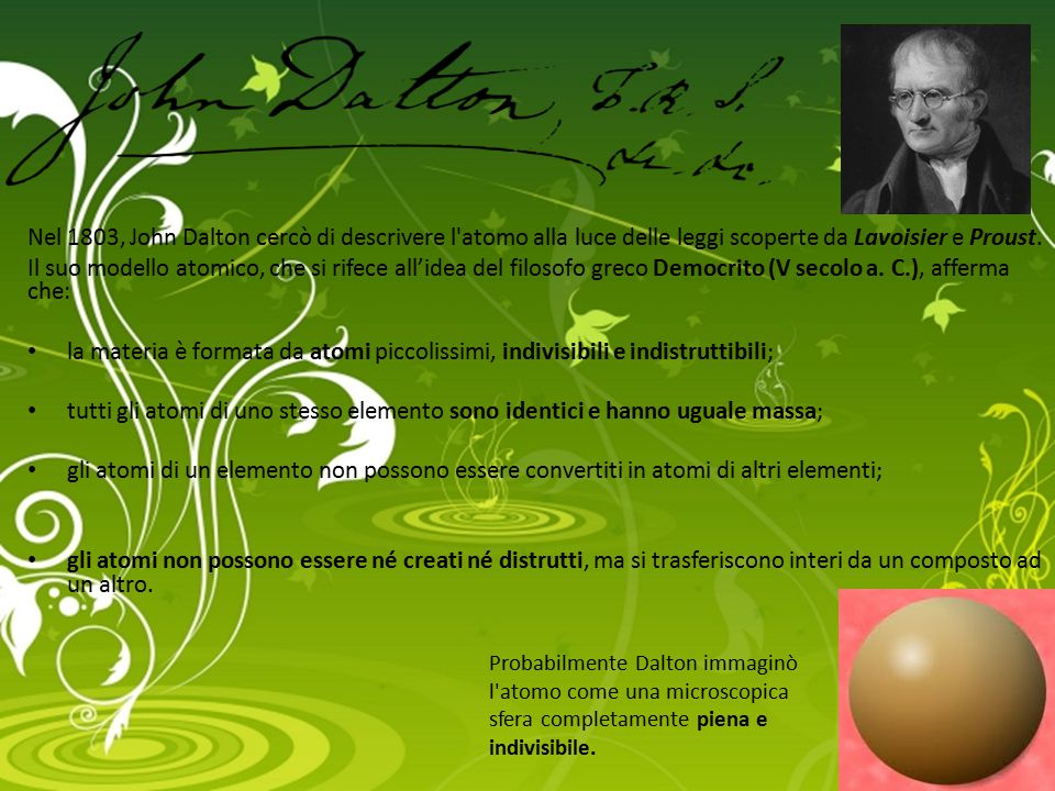Nel 1803, John Dalton cercò di descrivere l atomo alla luce delle leggi scoperte da Lavoisier e Proust.