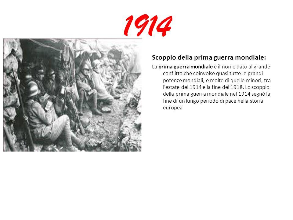 1914 Scoppio della prima guerra mondiale: