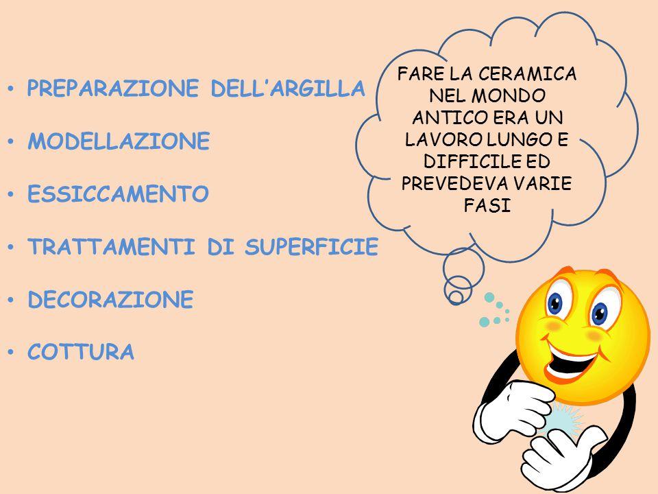 PREPARAZIONE DELL'ARGILLA MODELLAZIONE ESSICCAMENTO