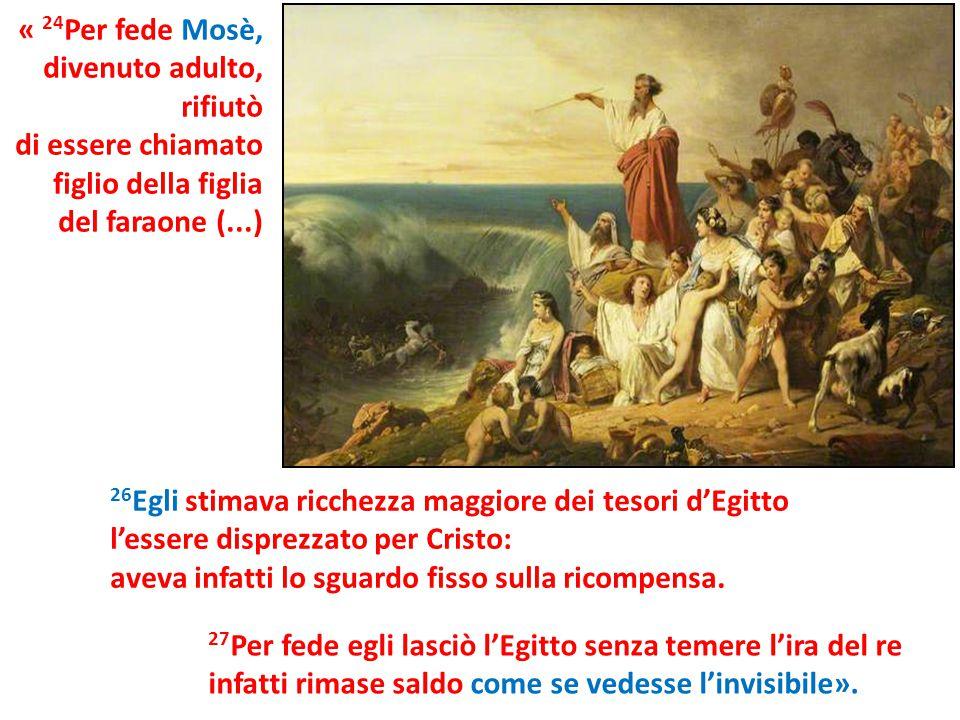 « 24Per fede Mosè, divenuto adulto, rifiutò. di essere chiamato. figlio della figlia. del faraone (...)