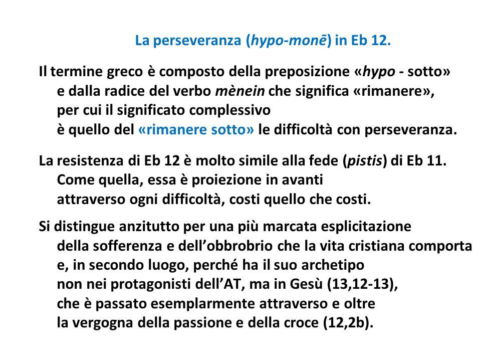 La perseveranza (hypo-monē) in Eb 12.