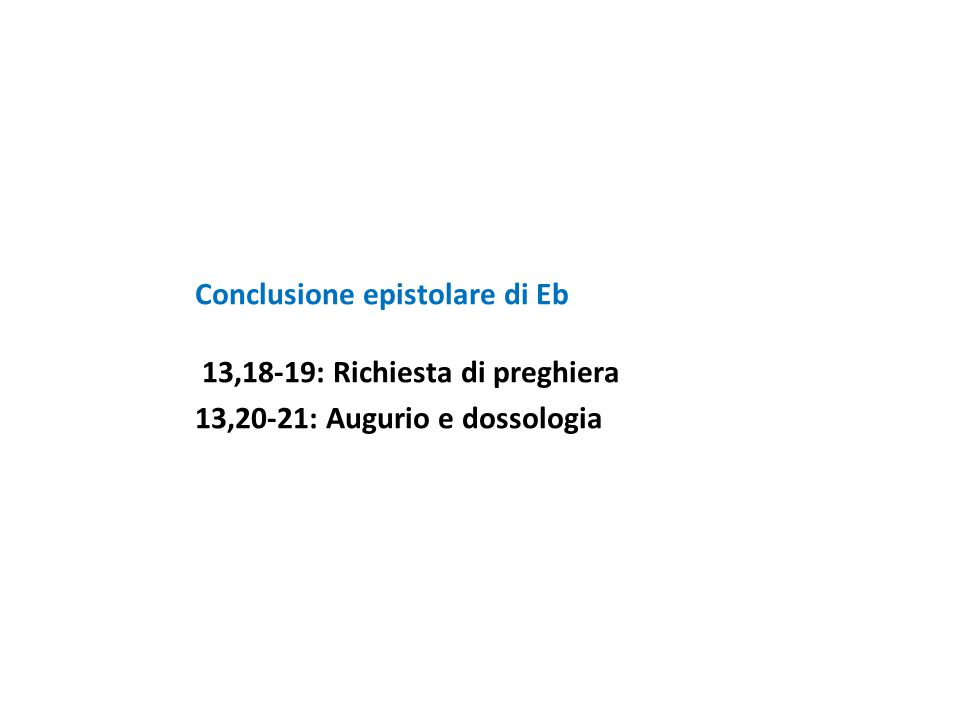 Conclusione epistolare di Eb