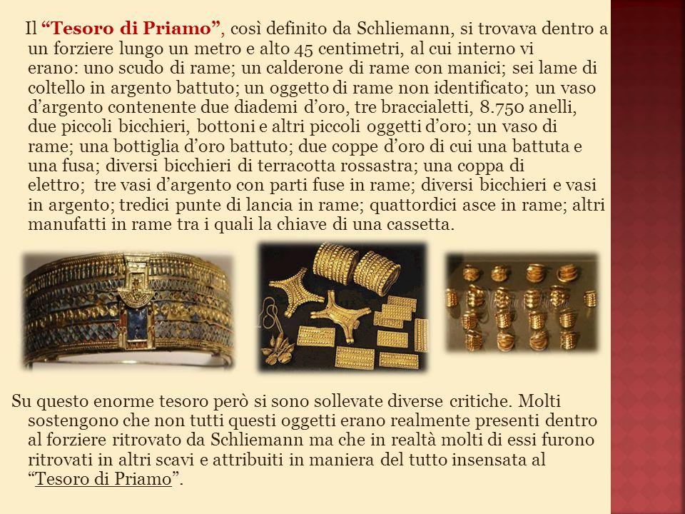 Il Tesoro di Priamo , così definito da Schliemann, si trovava dentro a un forziere lungo un metro e alto 45 centimetri, al cui interno vi erano: uno scudo di rame; un calderone di rame con manici; sei lame di coltello in argento battuto; un oggetto di rame non identificato; un vaso d'argento contenente due diademi d'oro, tre braccialetti, 8.750 anelli, due piccoli bicchieri, bottoni e altri piccoli oggetti d'oro; un vaso di rame; una bottiglia d'oro battuto; due coppe d'oro di cui una battuta e una fusa; diversi bicchieri di terracotta rossastra; una coppa di elettro; tre vasi d'argento con parti fuse in rame; diversi bicchieri e vasi in argento; tredici punte di lancia in rame; quattordici asce in rame; altri manufatti in rame tra i quali la chiave di una cassetta.