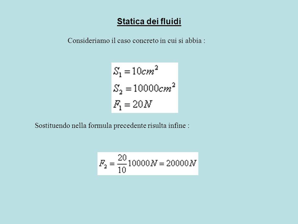 Statica dei fluidi Consideriamo il caso concreto in cui si abbia :
