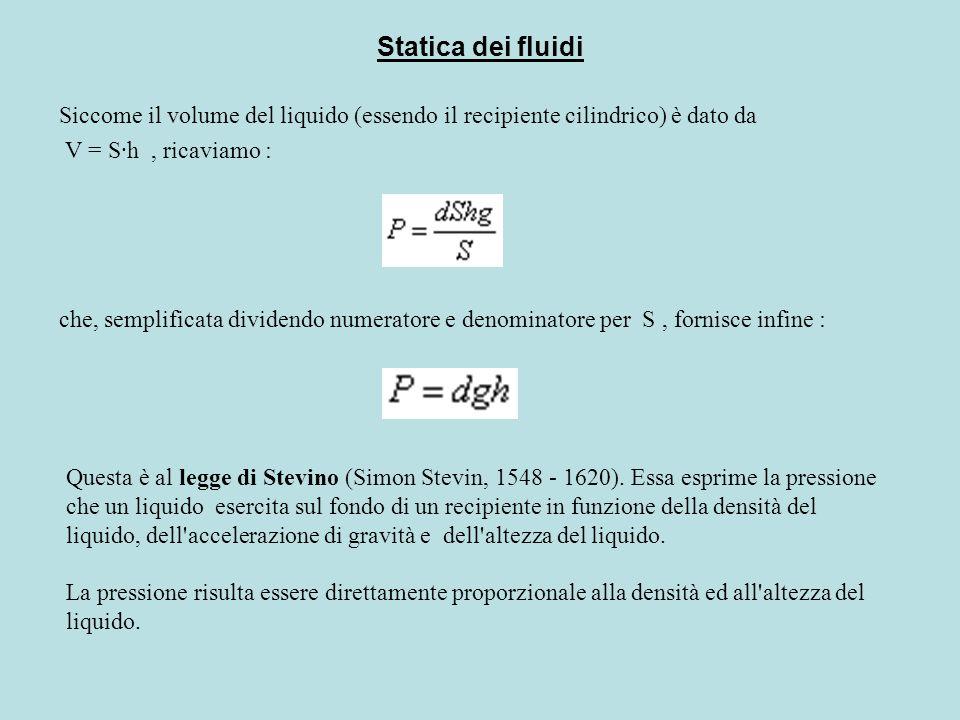 Statica dei fluidi Siccome il volume del liquido (essendo il recipiente cilindrico) è dato da V = S·h , ricaviamo :