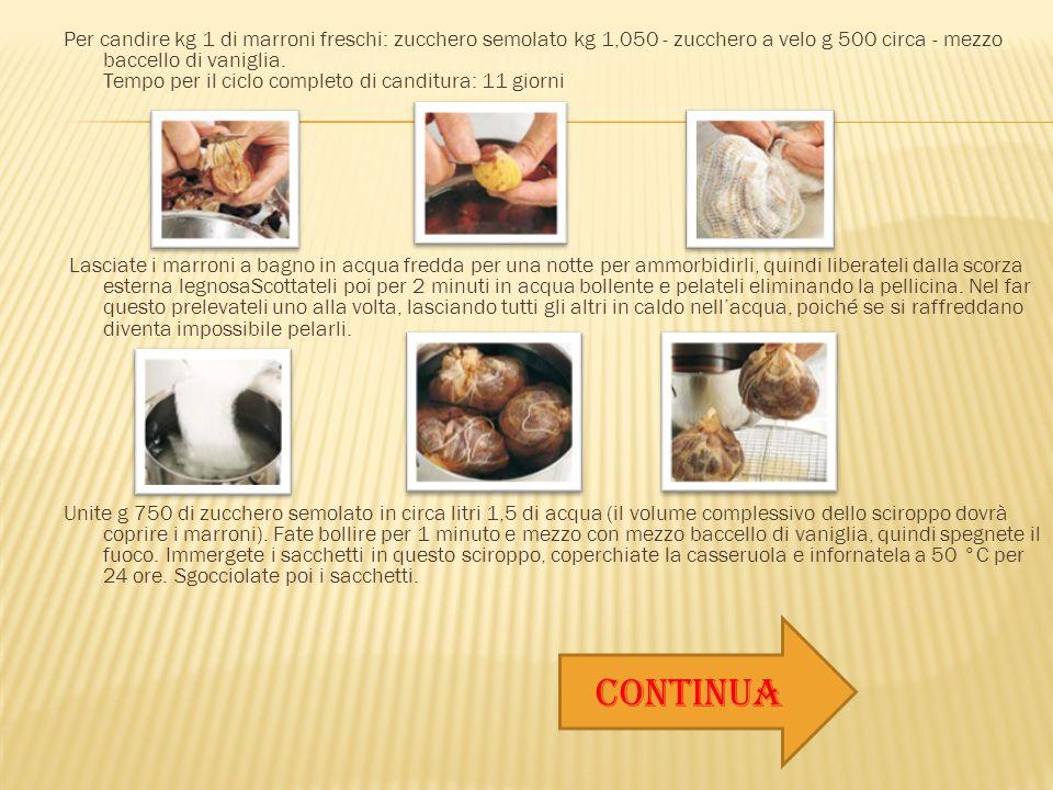Per candire kg 1 di marroni freschi: zucchero semolato kg 1,050 - zucchero a velo g 500 circa - mezzo baccello di vaniglia. Tempo per il ciclo completo di canditura: 11 giorni