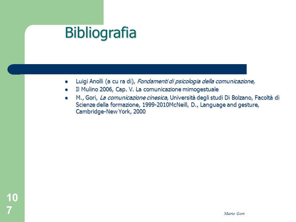 Bibliografia Luigi Anolli (a cu ra di), Fondamenti di psicologia della comunicazione, Il Mulino 2006, Cap. V. La comunicazione mimogestuale.