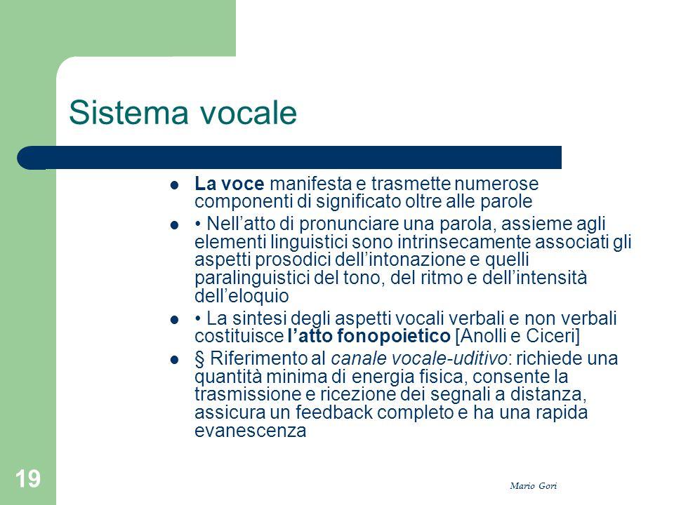 Sistema vocale La voce manifesta e trasmette numerose componenti di significato oltre alle parole.