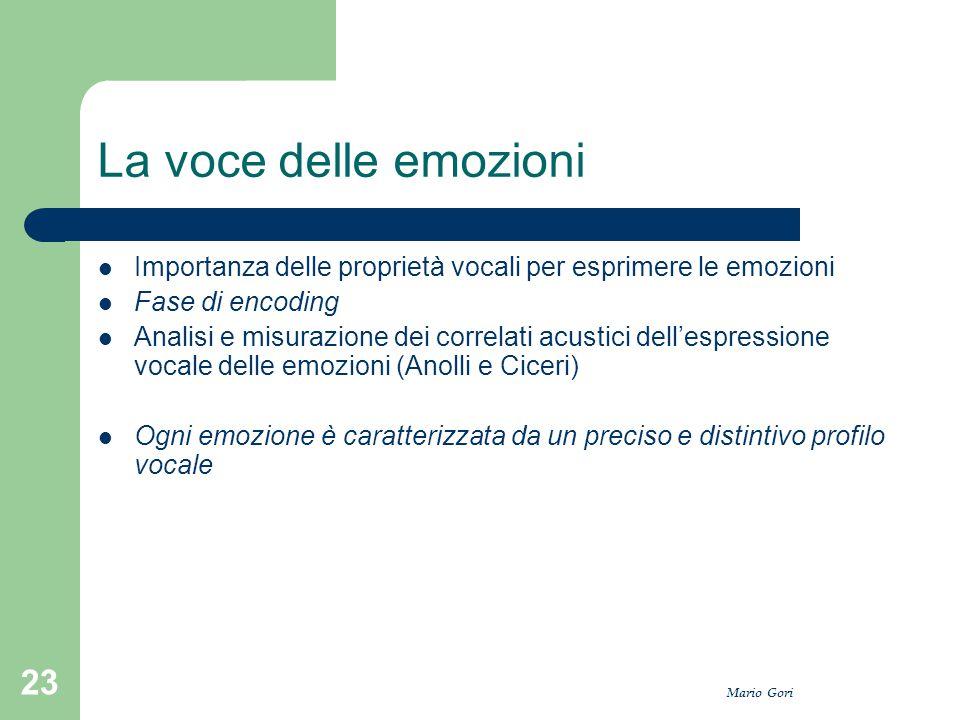La voce delle emozioni Importanza delle proprietà vocali per esprimere le emozioni. Fase di encoding.
